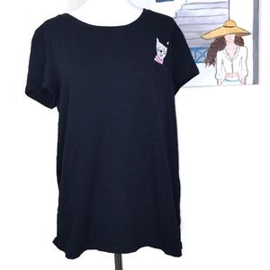 Talbots Navy Blue Short Sleeves Cat Shirt Size L